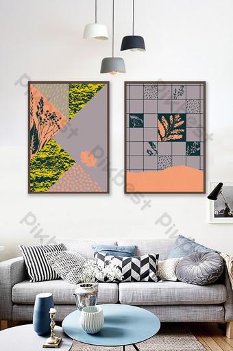 pintura decorativa de patrón abstracto literario simple Decoración y modelo Modelo PSD