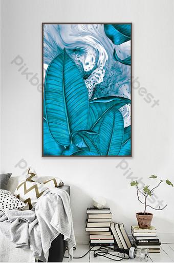 現代抽象熱帶藍色調植物水墨紋理裝飾畫 裝飾·模型 模板 PSD