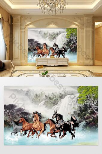 النمط الصيني اللوحة الحصان نمط المناظر الطبيعية خلفية الجدار الديكور والنموذج قالب PSD