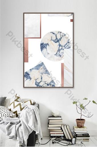 抽象的幾何圖案裝飾畫大理石紋理拼貼畫掛 裝飾·模型 模板 PSD