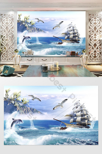 Seagull big boat sea dolphin seaside scenery background wall Decors & 3D Models Template PSD