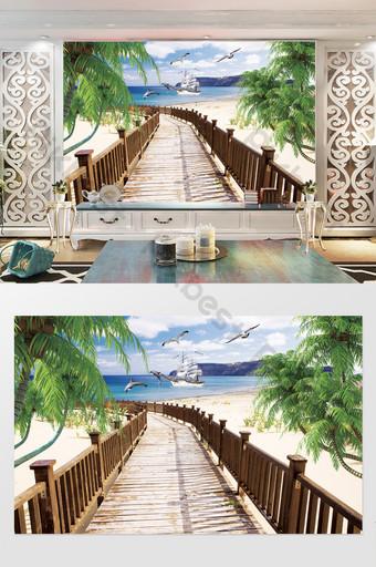 الحديثة وبسيطة 3d ثلاثي الأبعاد شجرة جوز الهند الإبحار التلفزيون خلفية الجدار الديكور والنموذج قالب PSD