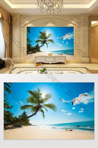 أحب البحر المناظر الطبيعية اللوحة شجرة جوز الهند البحر الأبيض المتوسط هاواي خلفية الجدار الديكور والنموذج قالب PSD