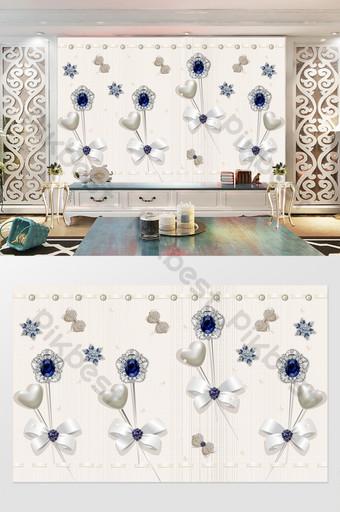 الأبيض الخوخ القلب الدانتيل اللؤلؤ القوس الماس زهرة خلفية الجدار الأزرق الديكور والنموذج قالب PSD