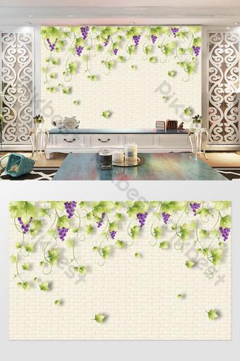 كرمات العنب على الحائط فناء خلفية طبيعية الديكور والنموذج قالب PSD