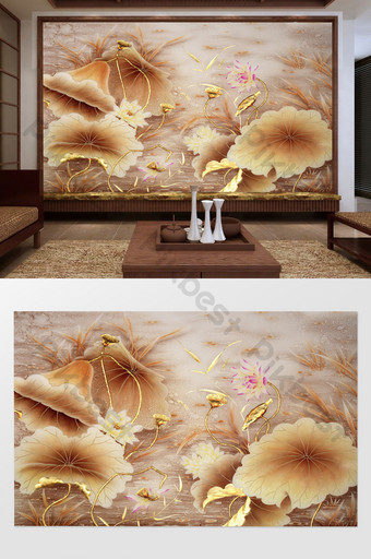 new chinese style modern lotus pond golden seed background wall Decors & 3D Models Template PSD
