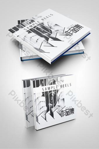 portada del folleto de portafolio personal de fotografía en blanco y negro de estilo chino Modelo PSD