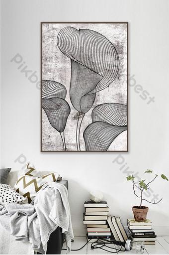 moda moderna textura simple línea en blanco y negro planta flor pintura decorativa Decoración y modelo Modelo PSD