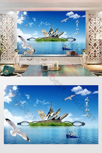 الحد الأدنى الحديثة السماء الزرقاء والسحب البيضاء مشهد جميل التلفزيون خلفية الجدار الديكور والنموذج قالب PSD