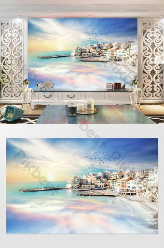 Fantasy Aurora Blue Sky White Clouds Aegean Sea TV Background Decors & 3D Models Template PSD
