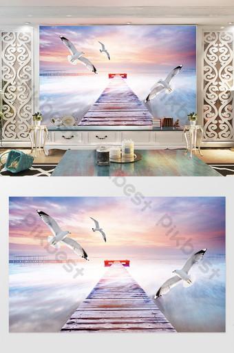الخيال السماء الزرقاء المتطرفة الغيوم البيضاء النورس بيتش ستيريو التلفزيون خلفية الجدار الديكور والنموذج قالب PSD
