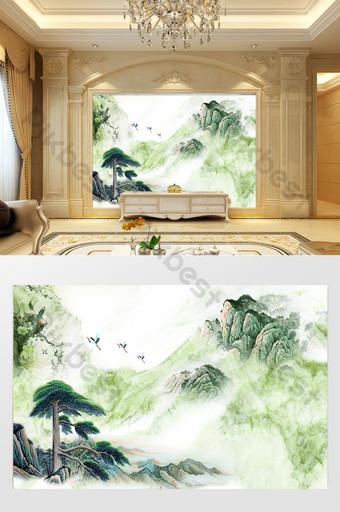 High-definition 3D marble pattern landscape flower sunrise background wall treasure land gold Decors & 3D Models Template PSD