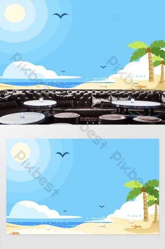 غرفة الأطفال شجرة جوز الهند المحيط السماء الزرقاء سحابة بيضاء التلفزيون خلفية الجدار الديكور والنموذج قالب PSD