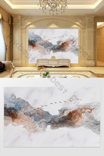 新中式抽像水墨山水大理石紋理電視背景 裝飾·模型 模板 PSD