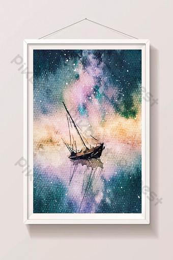 Tông màu xanh tươi mát đêmùa hè biển đầy sao bầu trời thuyền màu nước vẽ tay Minh họa Bản mẫu PSD