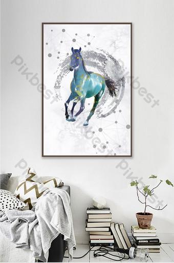 الشمال نمط الذهبي غرفة المعيشة الحديثة مجردة هندسية زخرفة اللوحة الحصان الديكور والنموذج قالب TIF