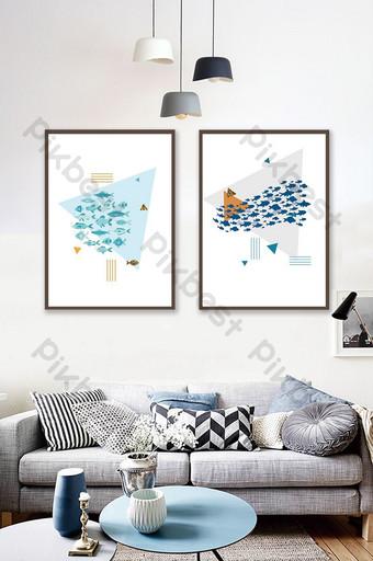 simple abstracto geométrico animal silueta patrón pintura decorativa Decoración y modelo Modelo PSD