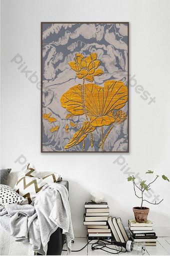 النمط الصيني الجديد قطعة واحدة اللوحة الزخرفية مع تقليم ذهبي من اللوتس والكارب العشب في الماء الديكور والنموذج قالب PSD