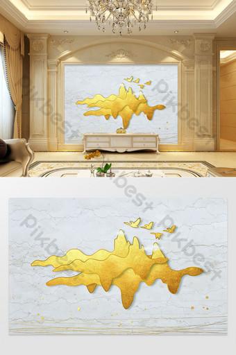 النمط الصيني الجديد مفهوم فني مجردة خط الجبل الذهبي الكبير الطيور التلفزيون خلفية الجدار الديكور والنموذج قالب PSD