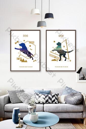 simple animal cachorro silueta patrón pintura decorativa Decoración y modelo Modelo PSD