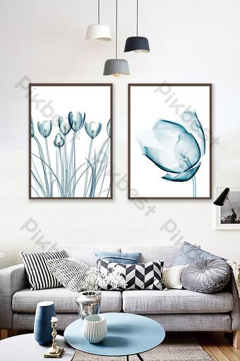 moderno simple textura transparente planta flor pintura decorativa azul Decoración y modelo Modelo PSD