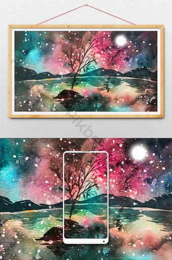Bầu trời đầy sao mùa hè đầy màu sắc vẽ tay minh họa Minh họa Bản mẫu PSD
