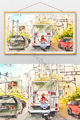 綠色清新夏日風光五月天水彩手繪插畫 插畫 模板 PSD