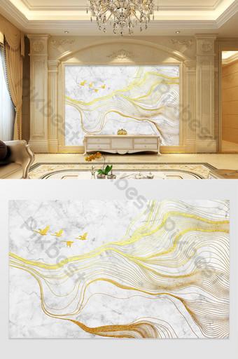 大理石紋理金色線條浮雕的抽象山圖案電視背景 裝飾·模型 模板 PSD