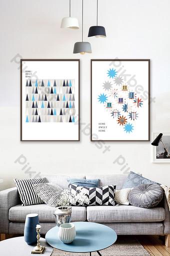 彩色幾何三角五角星創意藍色雙峰裝飾畫 裝飾·模型 模板 AI