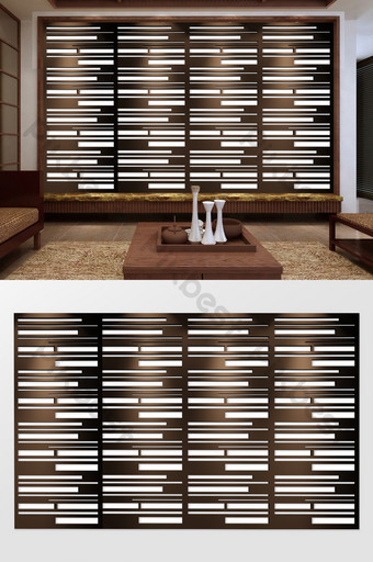 estilo chino relieve 3d rompecabezas geométrico grano de madera tv fondo pared Decoración y modelo Modelo PSD