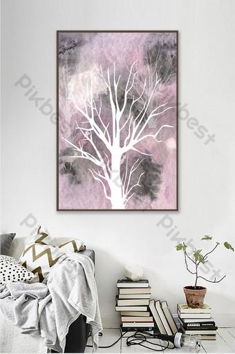 pintura decorativa de árboles y animales siluetas de estilo nórdico Decoración y modelo Modelo AI
