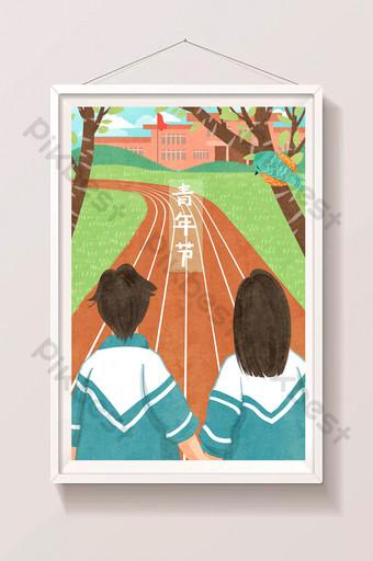 estudiantes masculinos y femeninos del día de la juventud fresca tomados de la mano ilustración en la pista de la escuela Ilustración Modelo PSD
