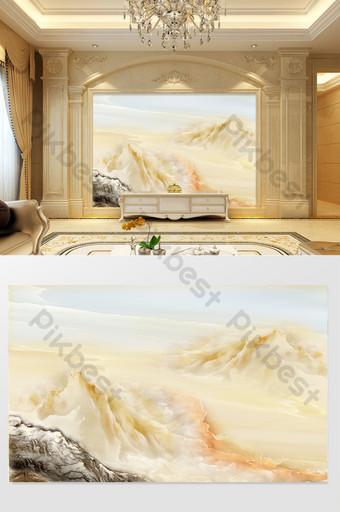 HD 3D Marble Landscape Flower Sunrise Background Wall Mountain River Lake Sea Decors & 3D Models Template TIF