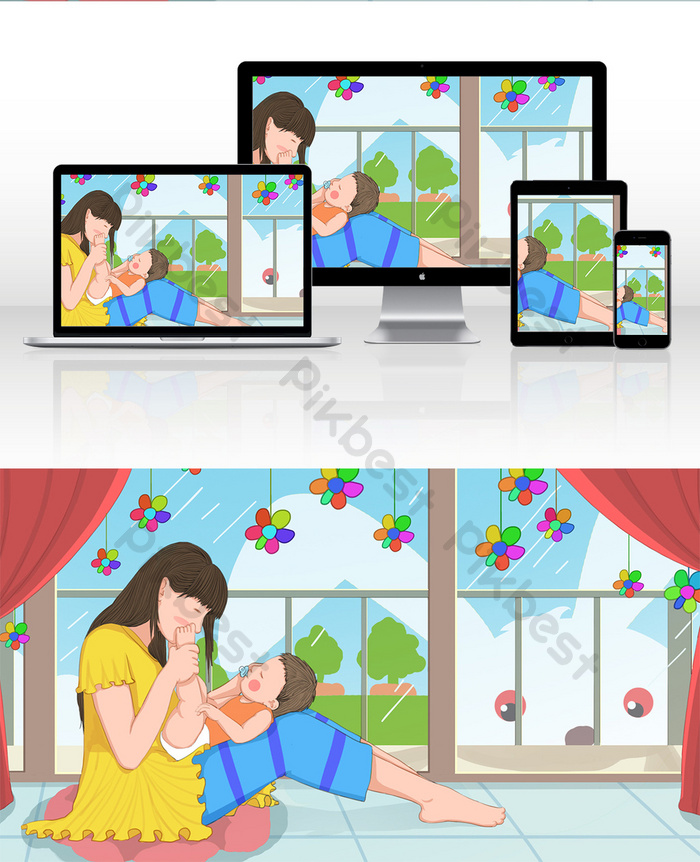 Warm Mother And Child Illustration Mothers Day Flowers Blossoming Illustration Psd Free Download Pikbest