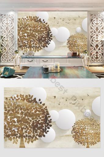 modern minimalis pohon 3d dinding latar belakang lingkaran tv Dekorasi dan model Templat PSD