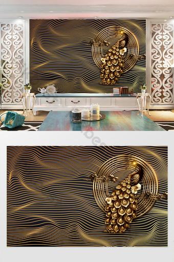 الحديث الذهب الأسود الطاووس رائع التلفزيون خلفية الجدار الديكور والنموذج قالب PSD