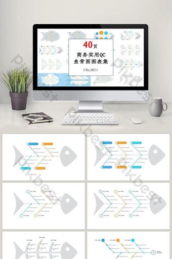 praktis qc kontrol kualitas lingkaran diagram tulang ikan diagram ppt set PowerPoint Templat PPTX