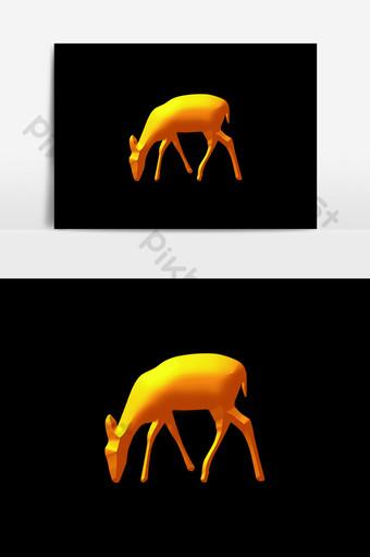 Bất động sản vàng trang trí hươu ăn cỏ yếu tố Công cụ đồ họa Bản mẫu PNG