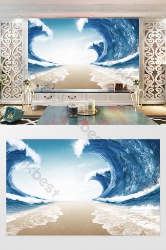 فائقة واقعية 3D المحيط موجات التلفزيون خلفية الجدار الديكور والنموذج قالب PSD