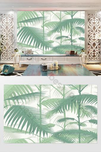 صغيرة أوراق الموز الطازجة شجرة جوز الهند التلفزيون خلفية الجدار الديكور والنموذج قالب PSD