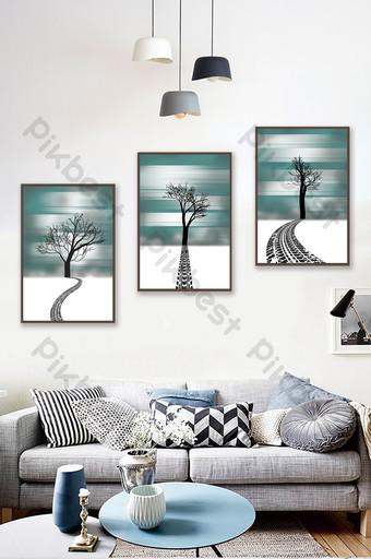 arte moderno abstracto árbol silueta patrón pintura decorativa Decoración y modelo Modelo PSD