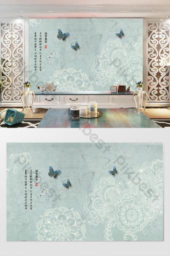 Маленькая свежая и простая цветочная бабочка на ТВ фоне стены Украшение и модель шаблон PSD
