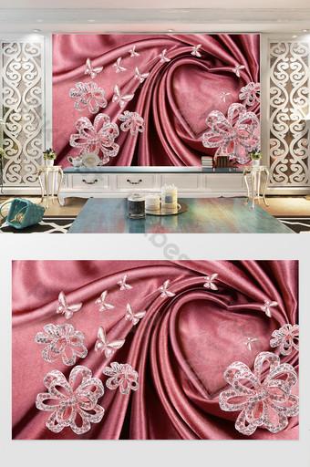 3d rosa amor corazón satén joyería flor mariposa fondo pared Decoración y modelo Modelo PSD
