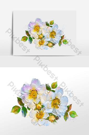 flower series three white camellia flower bone watercolor drawing illustration Illustration Template PSD