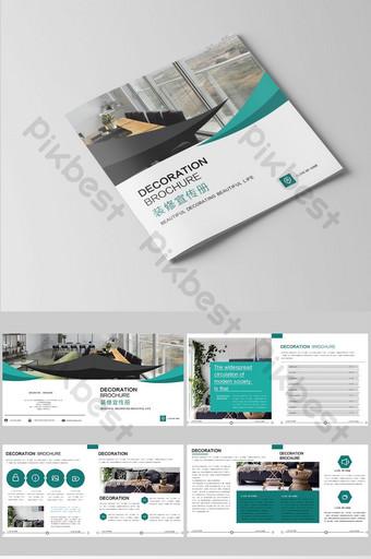 a complete set of dark green modern general real estate Brochures Template PSD