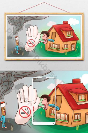 political cartoon comics no smoking day anti-drug propaganda drawing illustration Illustration Template PSD