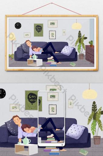 藍色清新客廳沙發父女午睡手繪插畫 插畫 模板 PSD