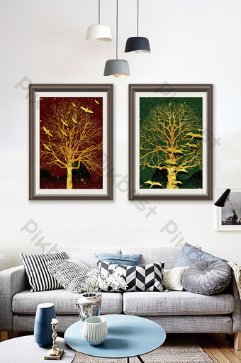 arte abstracto árbol silueta patrón pintura decorativa Decoración y modelo Modelo PSD