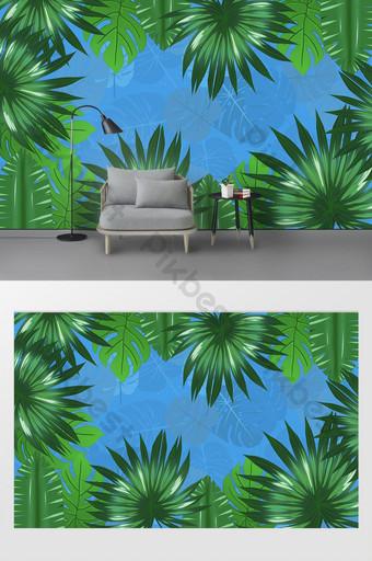 الأوروبي رسمت باليد الغابات المطيرة الاستوائية أوراق الموز التلفزيون خلفية الجدار الديكور والنموذج قالب AI