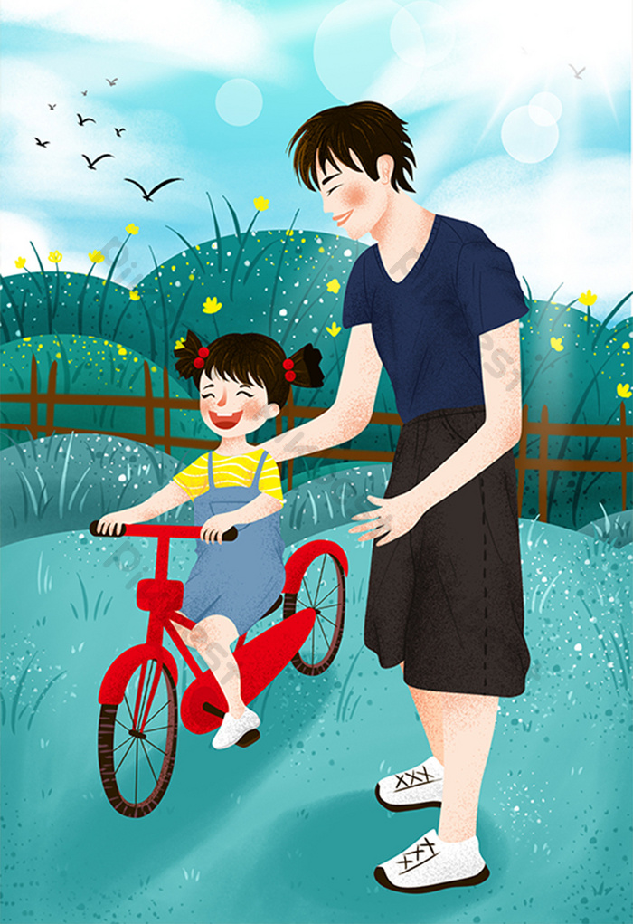 Fresh Cure Father S Day Happy Father And Daughter Cartoon Illustration Illustration Psd Free Download Pikbest